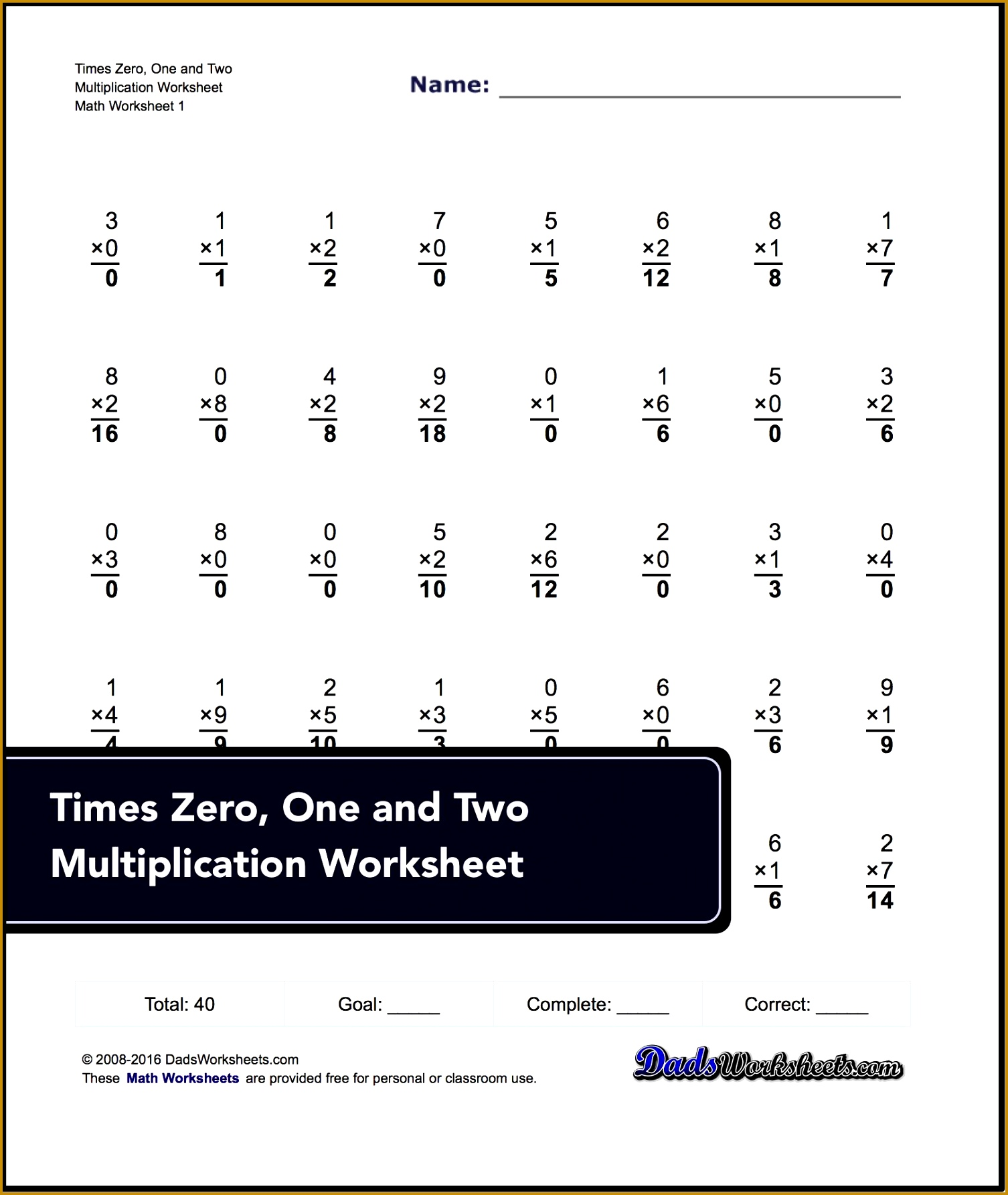 4 Multiplication Timed Test Worksheet