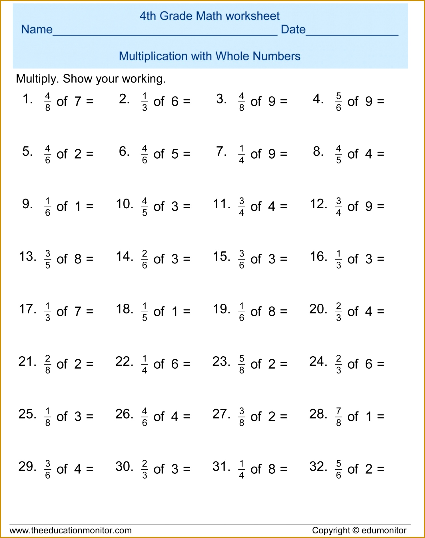 5 Multiplying Fractions Worksheet