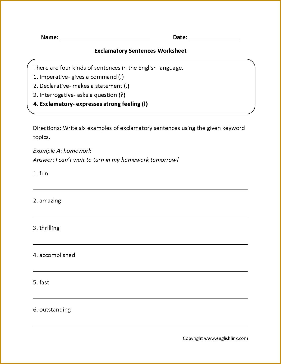 5 Sentence Structure Worksheets