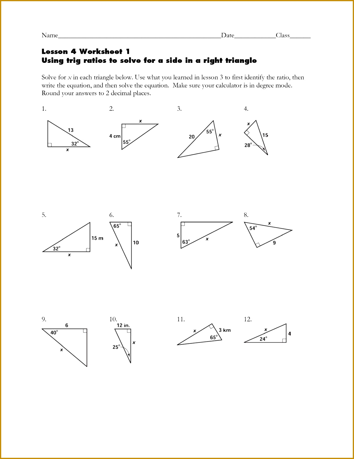 Worksheet Trig Ratios In Right Triangles Answers