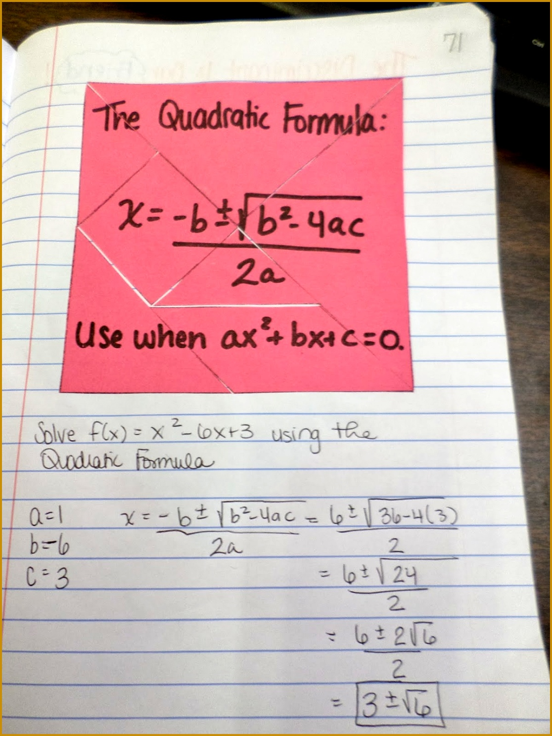 3 Solving Quadratic Equations Using The Quadratic Formula