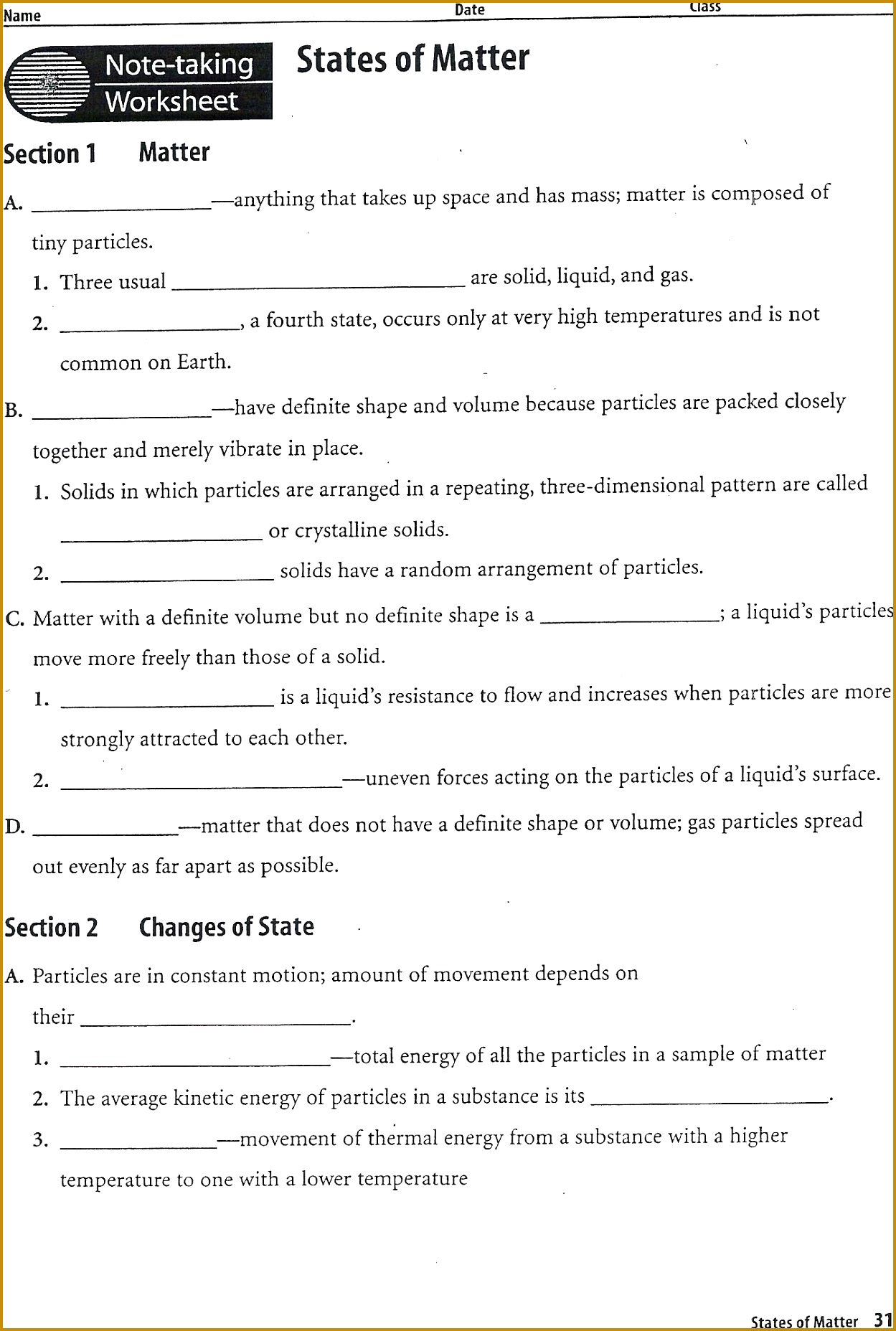 4 States Of Matter Worksheet