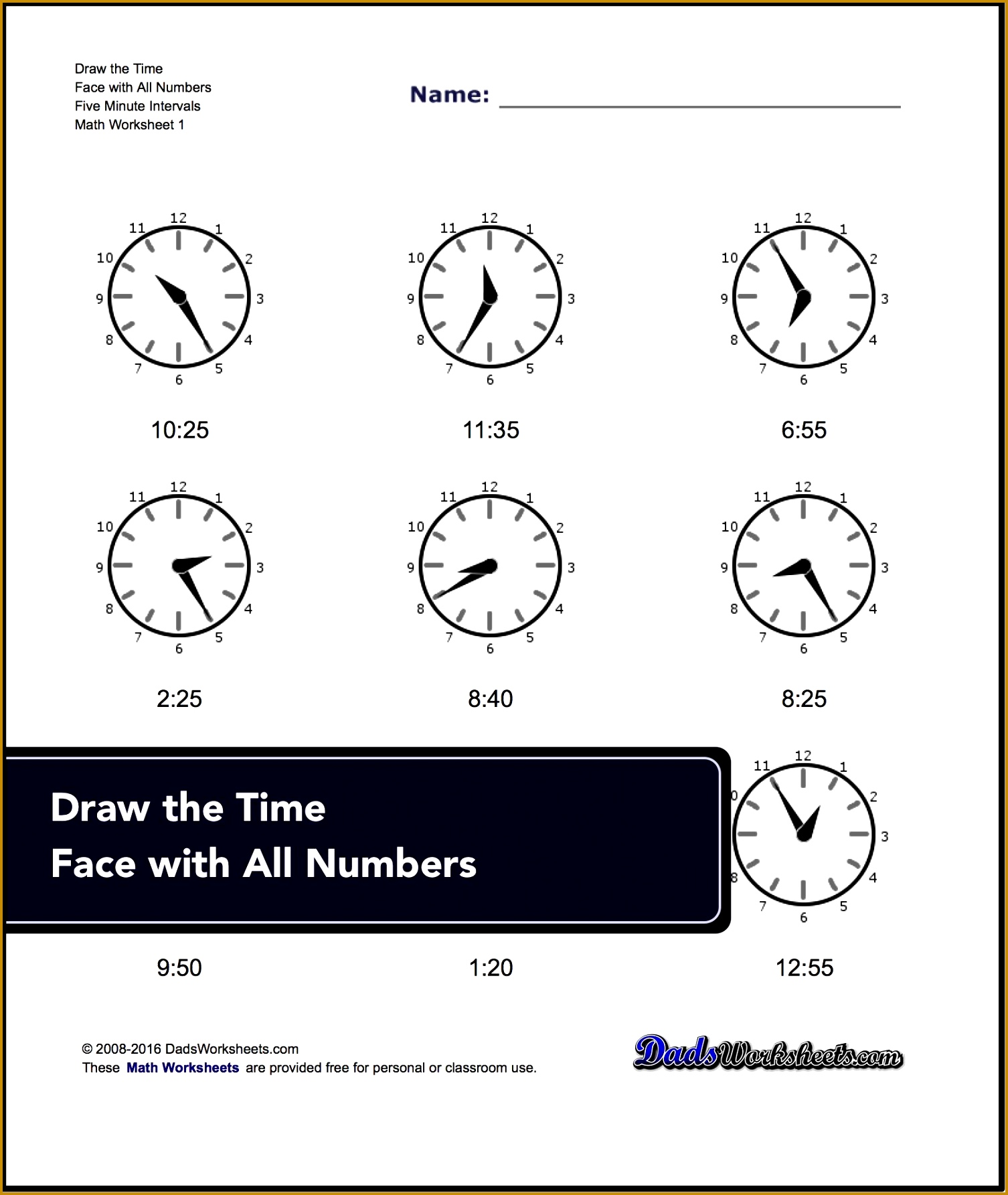 4 Telling Time Worksheets