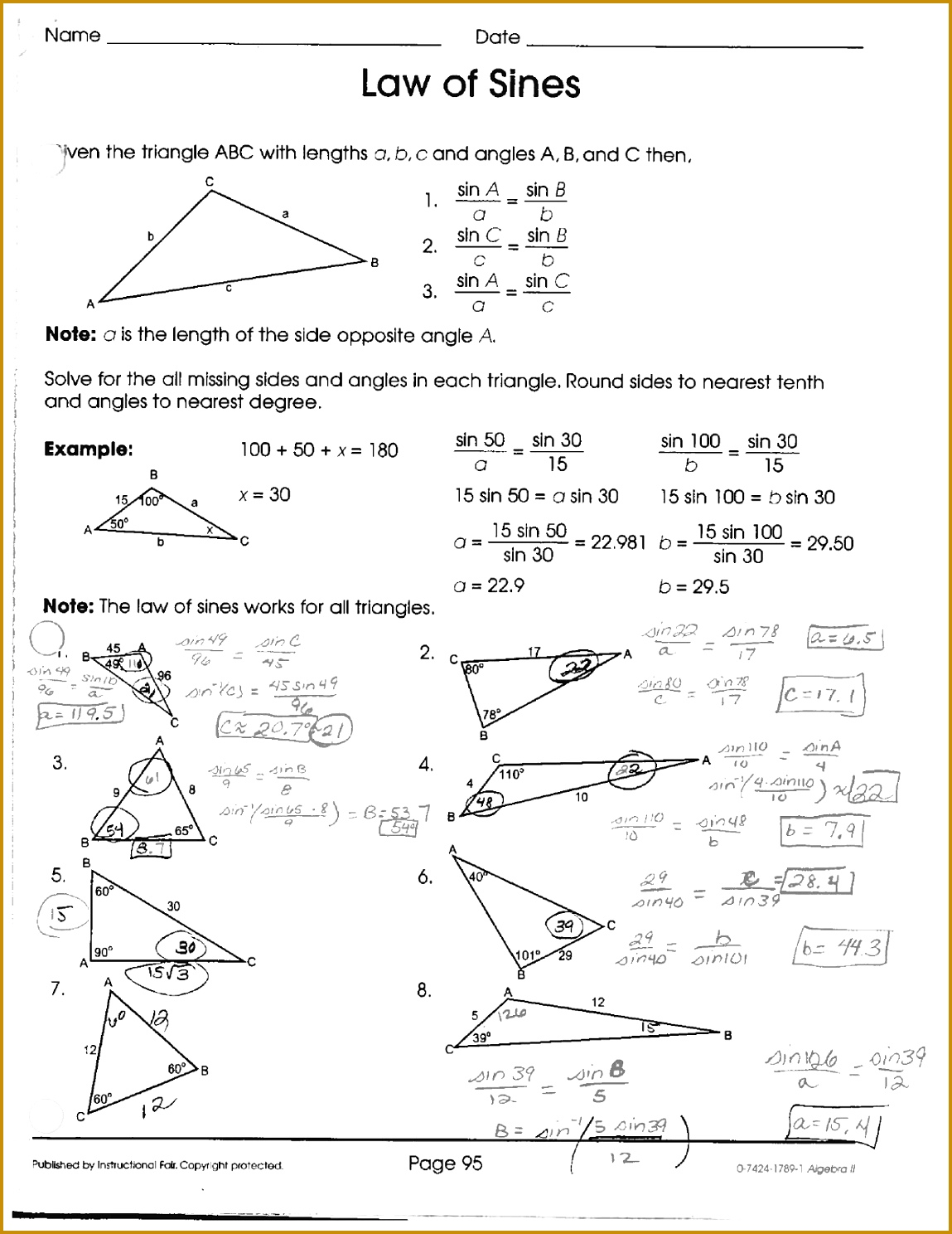 3 The Law Of Cosines Worksheet