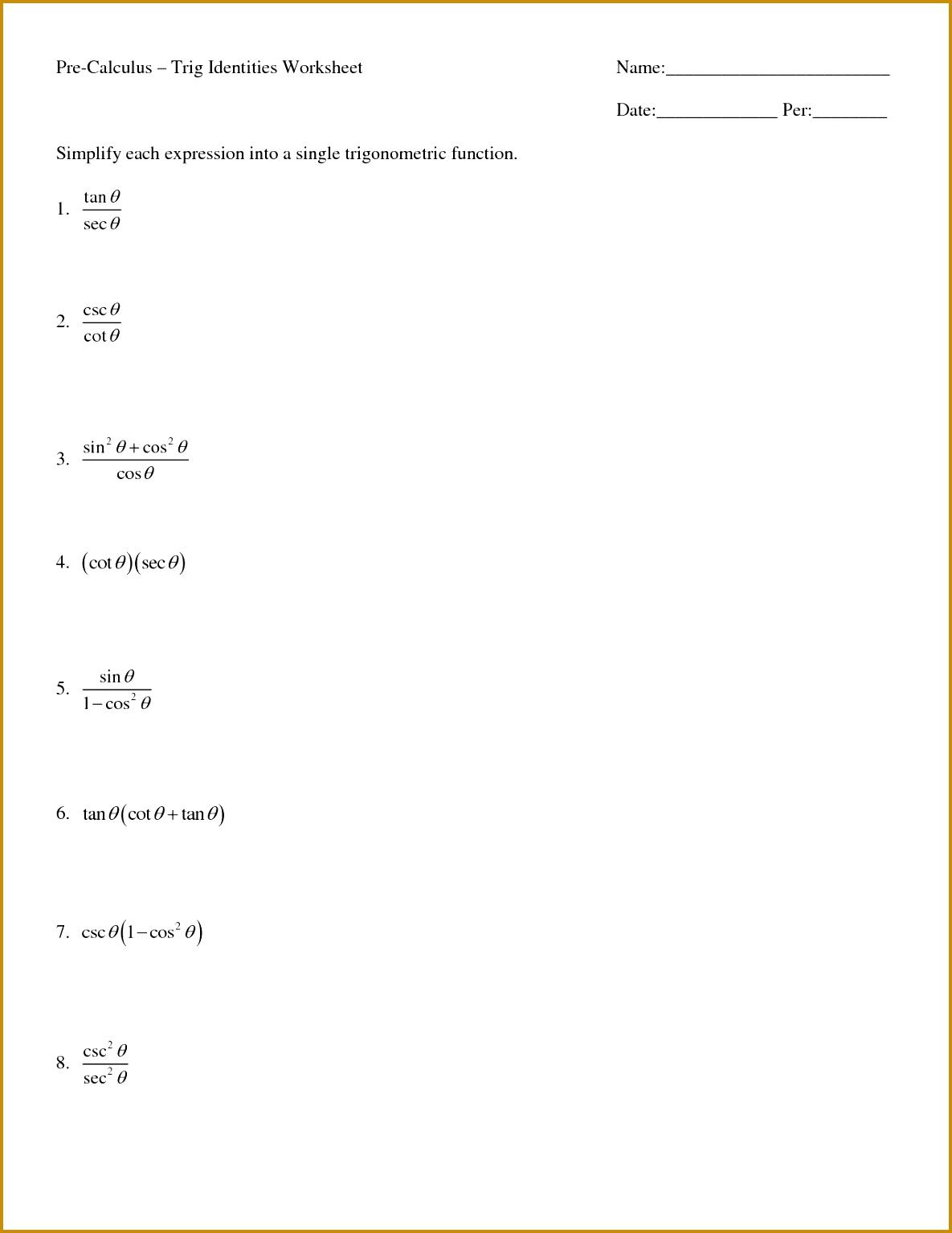6 Trig Identities Worksheet