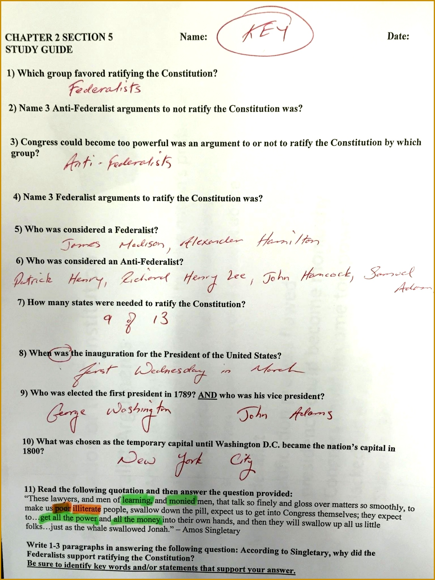 4 Us Constitution Worksheet Answers