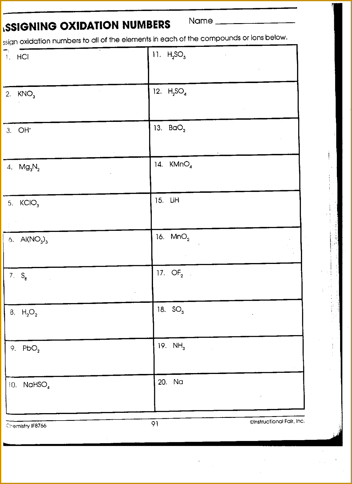 Oxidation Numbers Worksheet Doc