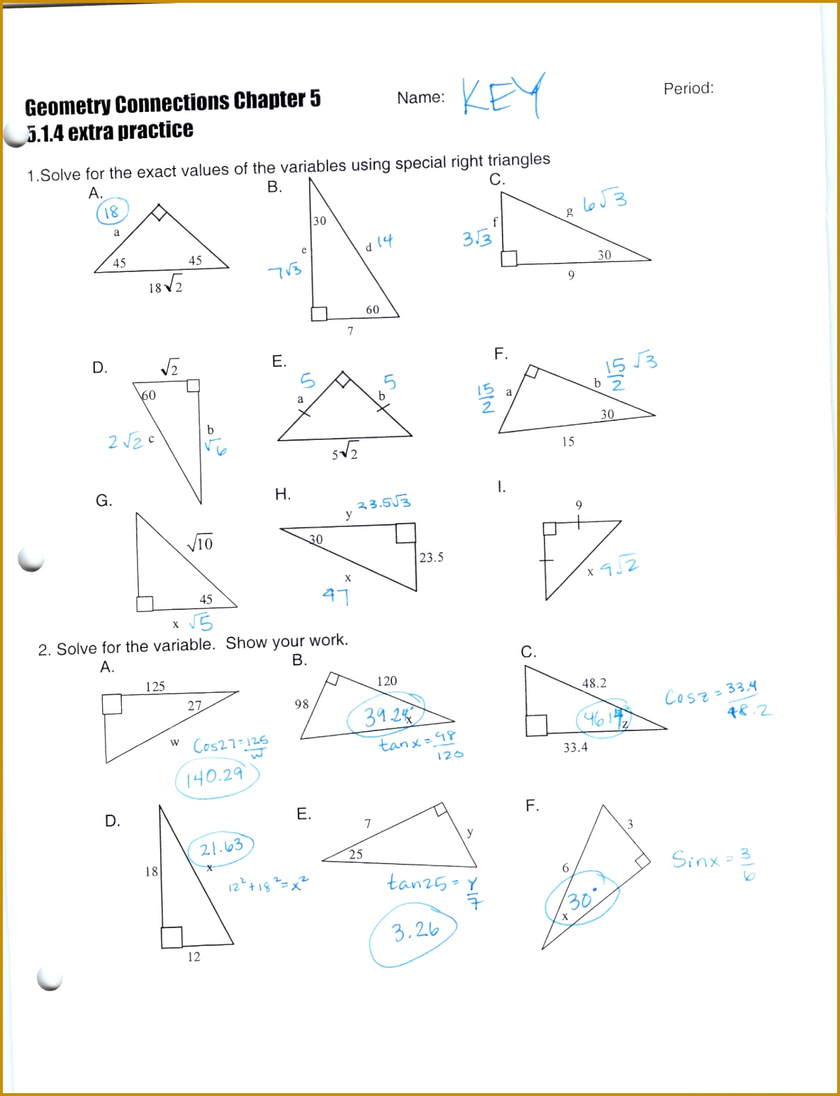 Trigonometric Ratios Worksheet Answers With Work