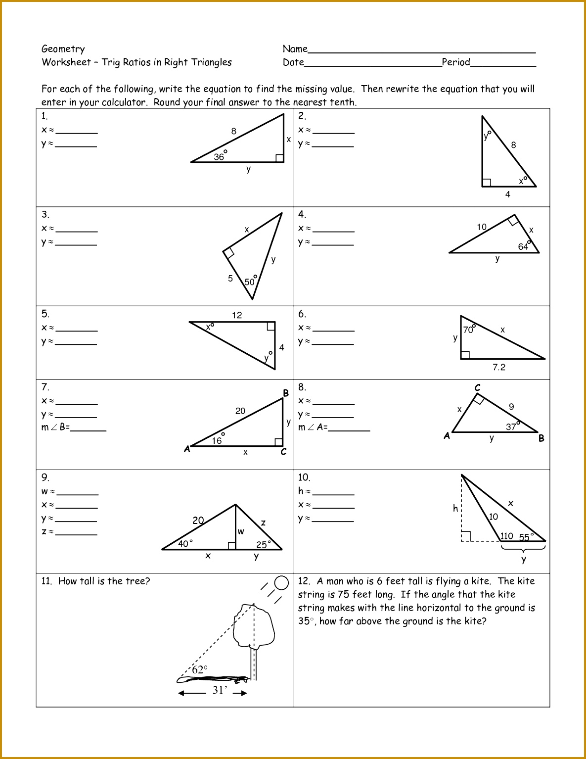 4 Worksheet Trigonometric Ratios Sohcahtoa Answers