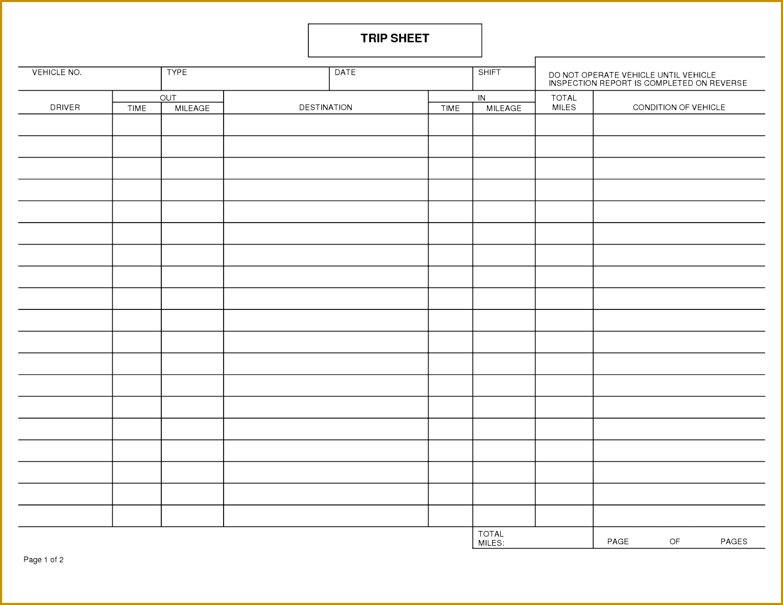 3 Vehicle Mileage Log Book