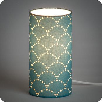 Lampe Poser Design En Tissu Motif Japonais Bleu Canard