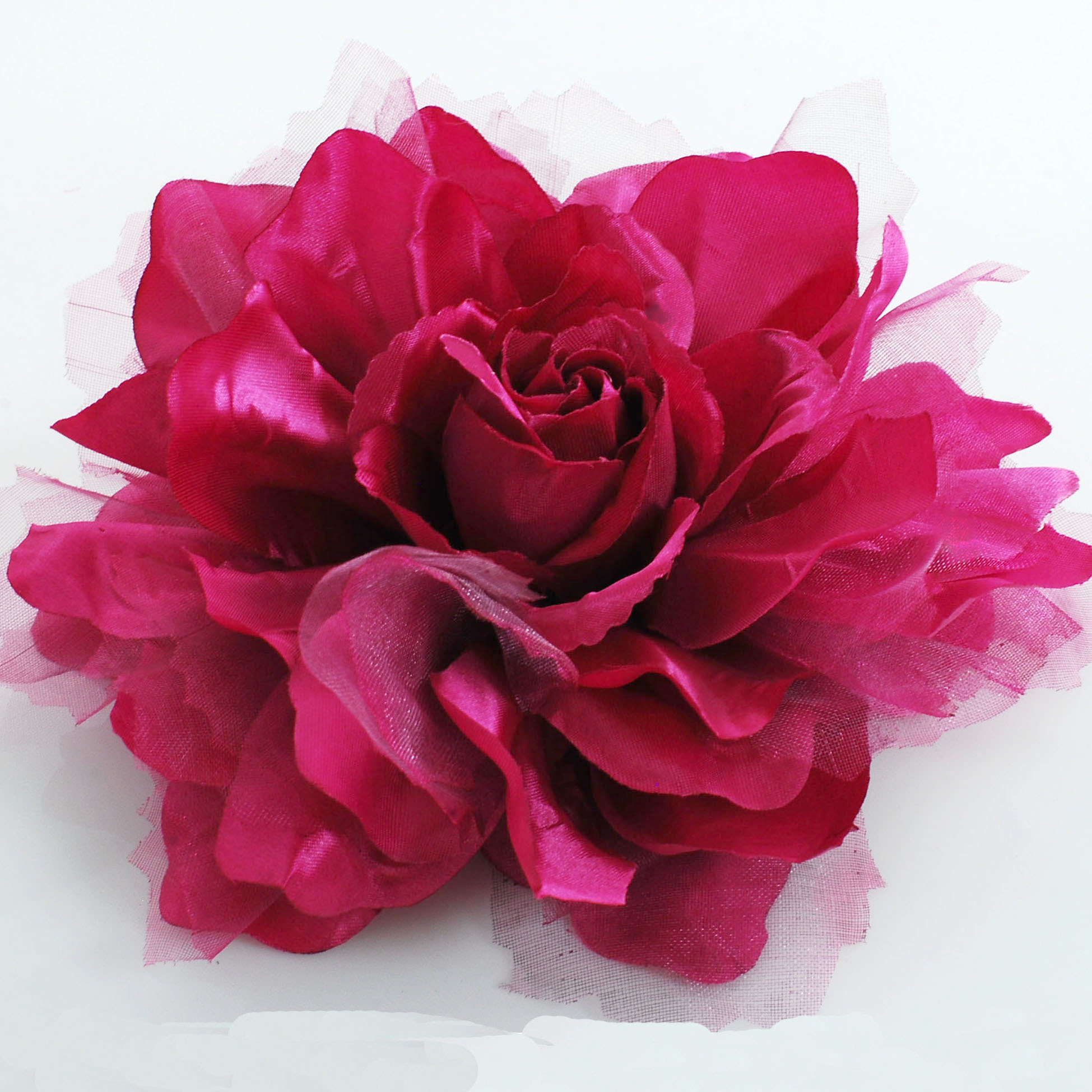 Large Burgundy Fabric Flower Pin Artificial flower pin large fabric flower