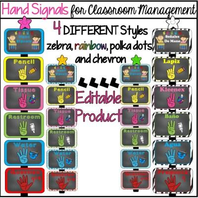 Classroom Hand Signals Editable Product