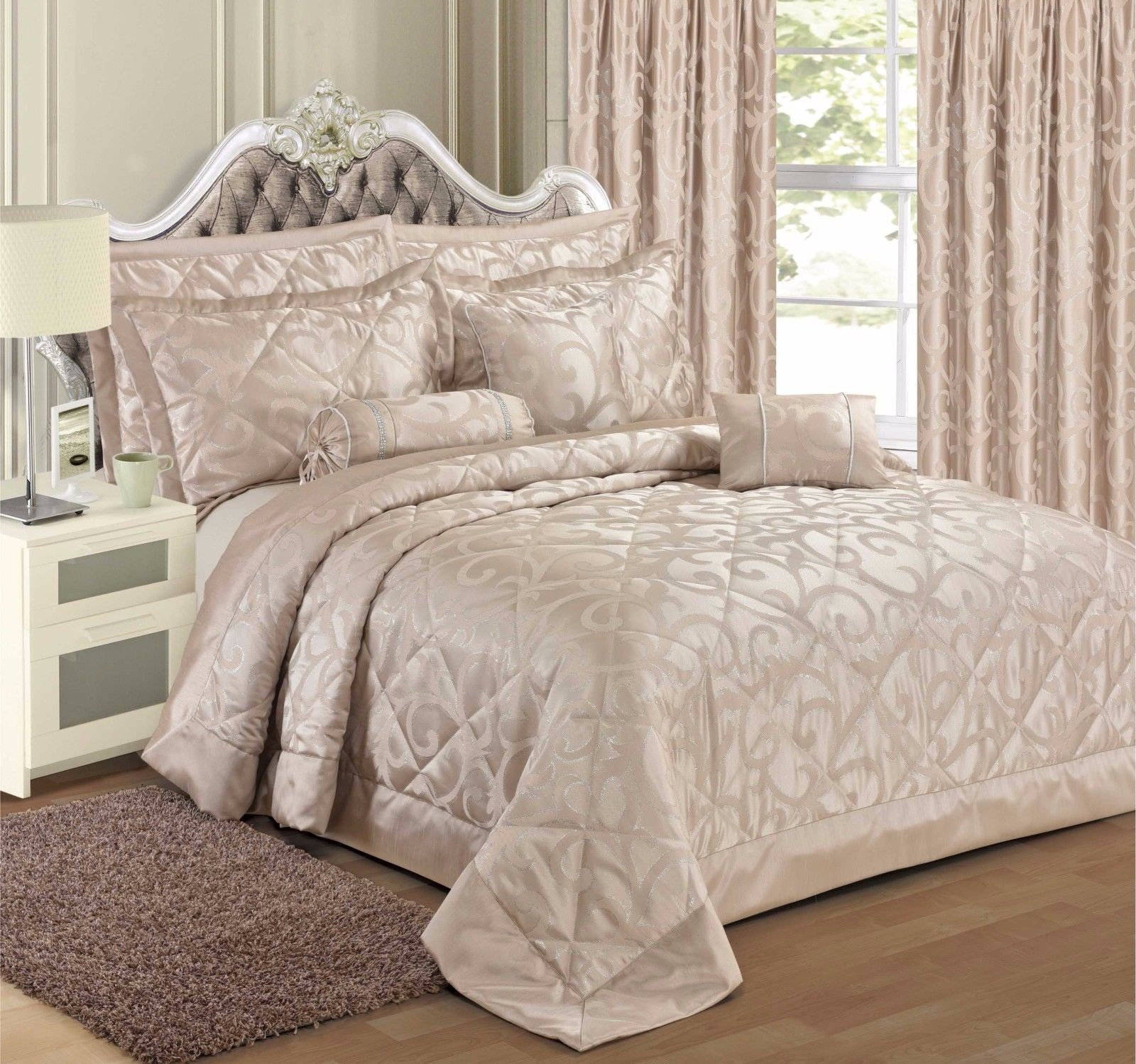 Champagne Colour Stylish Floral Scroll Jacquard Luxury