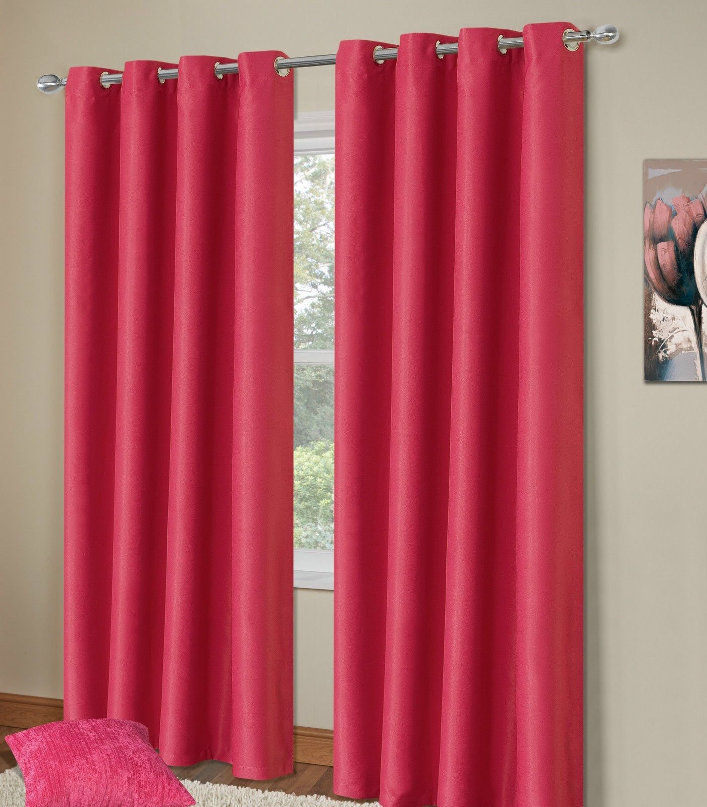 PLAIN FUSCHIA PINK COLOUR THERMAL BLACKOUT BEDROOM LIVINGROOM READYMADE CURTAINS RINGTOP EYELETS