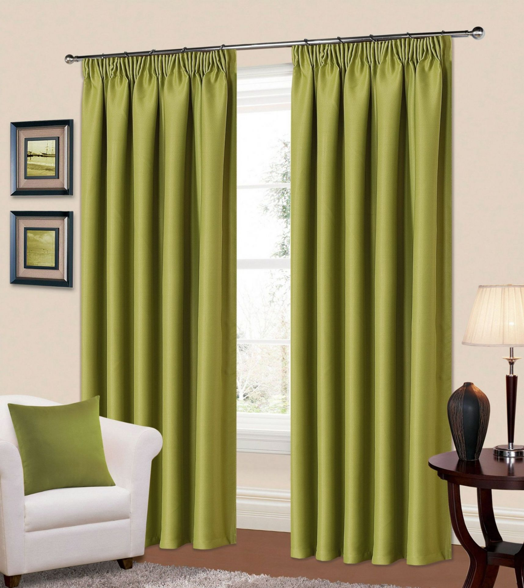 Plain Green Colour Thermal Blackout Readymade Bedroom Livingroom Curtains Pencil Pleat