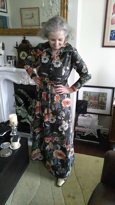 70's floral print metallic maxi dress from Attik and Seller.