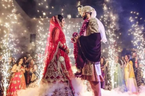 indian bride and groom on their wedding stage