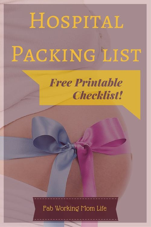 Labor and Delivery Hospital Packing List free printable