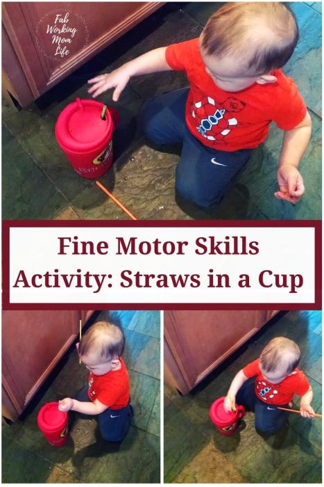 Fine Motor Skills Activity for Toddlers: Straws in a Cup