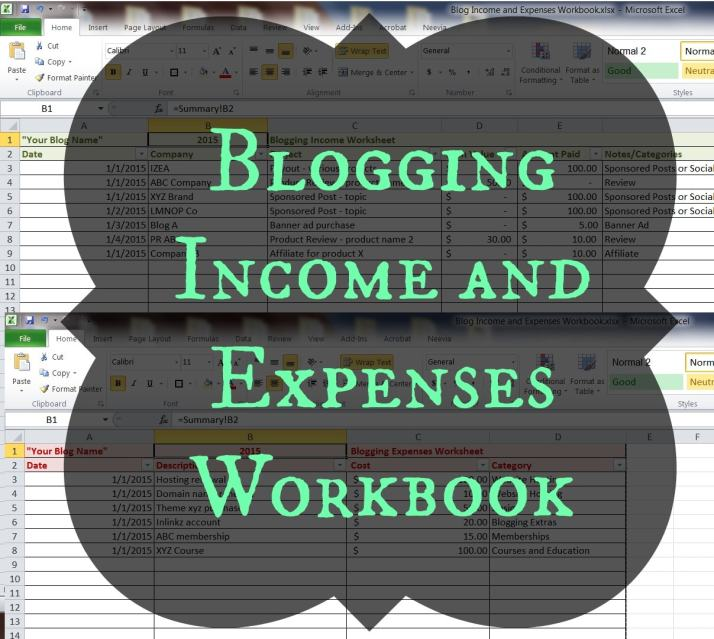 Blog Income and Expenses Workbook