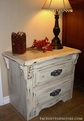 Antiqued White Chunky Nightstand ~ Before & After. From Facelift Furniture's DIY Blog.