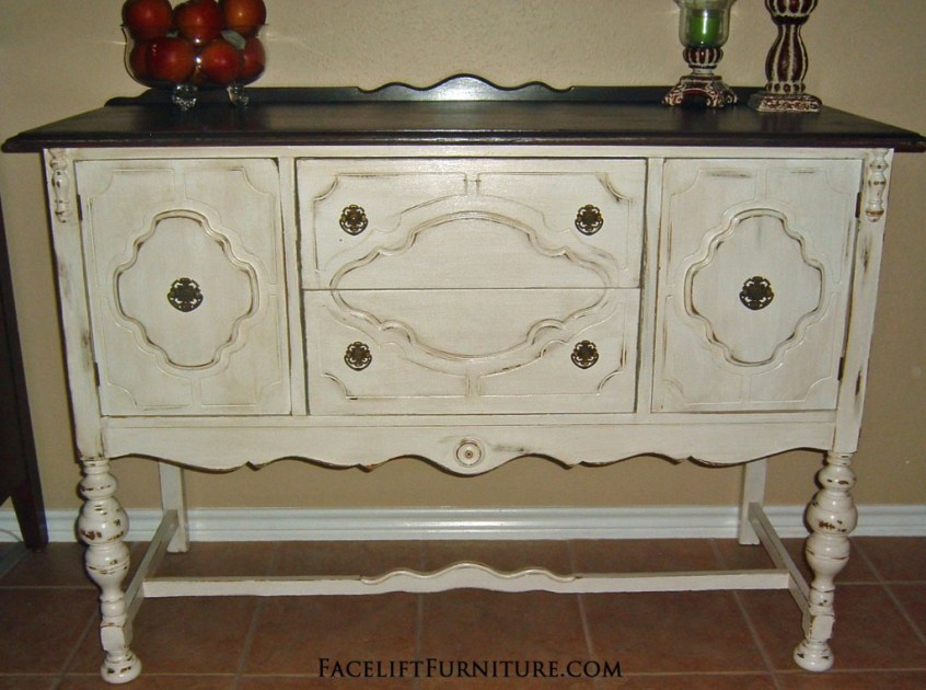 Antique White Buffet Dark Top FLF