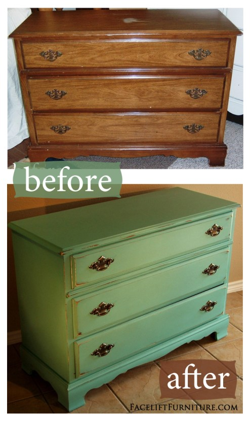 Jade Distressed Dresser - Before & After. Facelift Furniture DIY Blog.