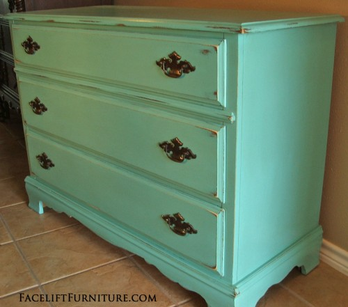 Jade Distressed Dresser ~ Before & After. Facelift Furniture DIY Blog