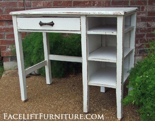 Chippy Antiqued White Desk Facelift Furniture