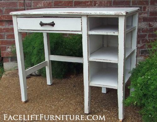 Chippy Antiqued White Desk Facelift Furniture