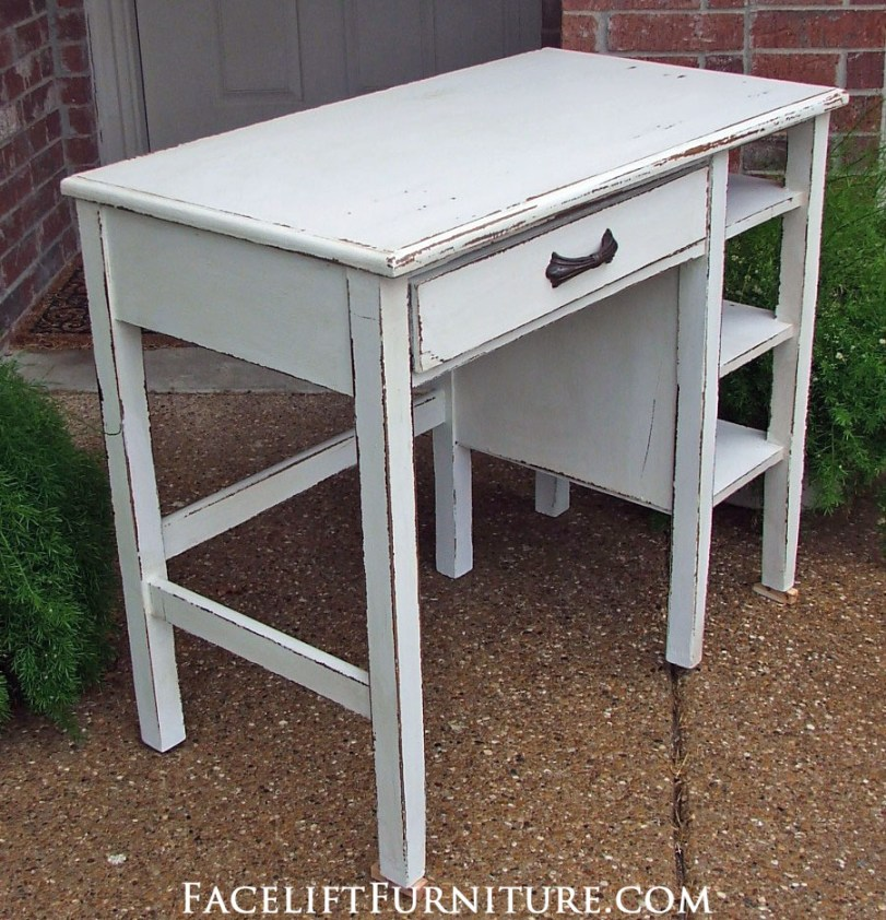 Chippy Antiqued White Desk Side