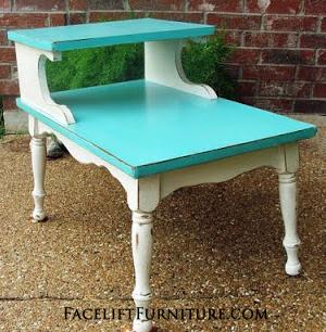 Turqouise & White End Table