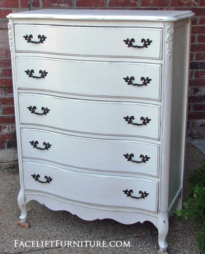 French Provincial Chest of Drawers painted, glazed and distressed in Antiqued White with light Tea Stained Glaze. From Facelift Furniture's DIY Blog.