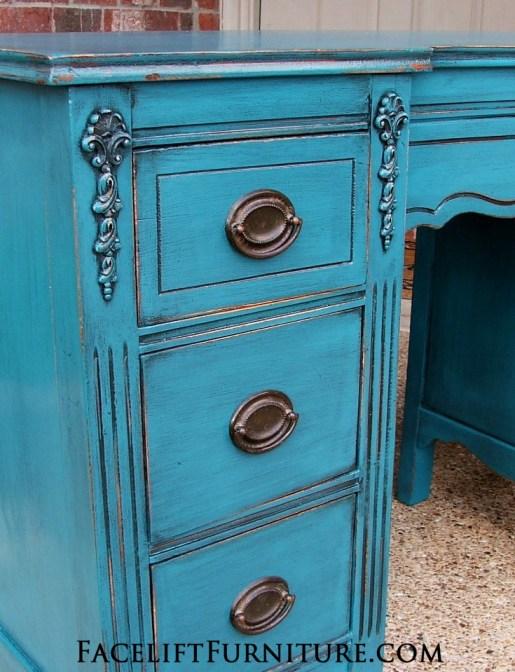 Peacock Blue Vanity Desk Drawers