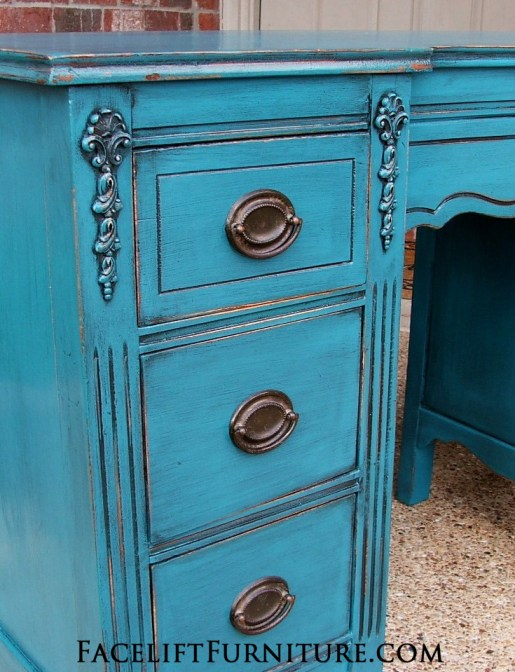 Peacock Blue Vanity Desk Drawers