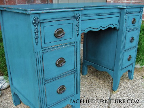 Peacock Blue Vanity Desk Front