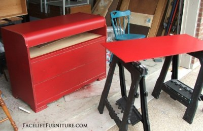 Waterfall Dresser Repurposed in Media Console - Before & After. Facelift Furniture DIY Blog