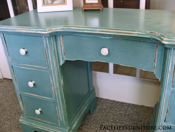 Chippy Distressed Sea Blue Vanity Desk.  Facelift Furniture DIY Blog