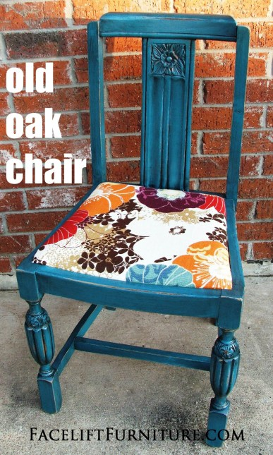 Peacock Blue Old Oak Chair