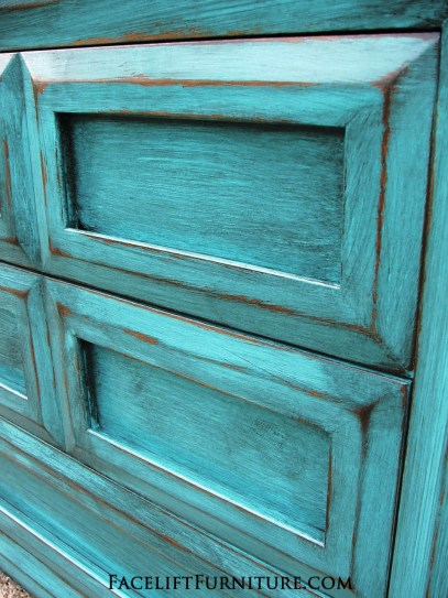 Turquoise Dresser Glazed Black FLF