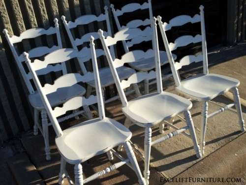 Antiqued White Dining Chairs