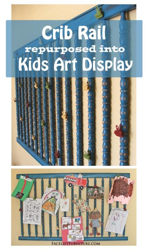 Crib Rail Repurposed into Kids Art Display ~ From Facelift Furniture's DIY Blog
