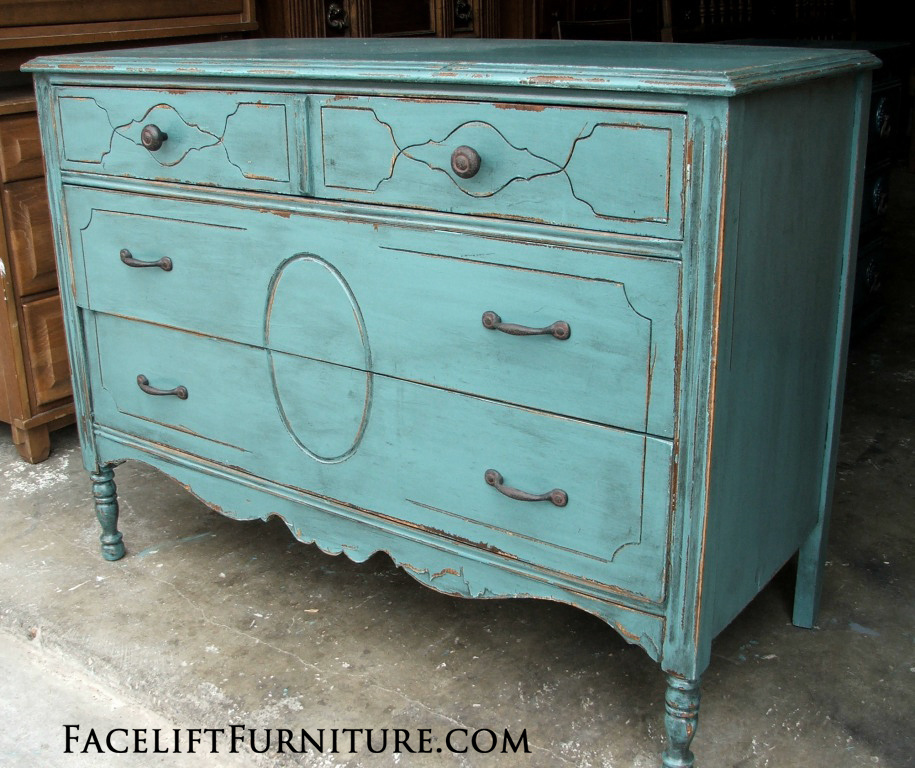 Rustic Sea Blue Dresser