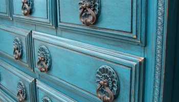 Peacock Blue over Red Dresser Nightstand Facelift Furniture