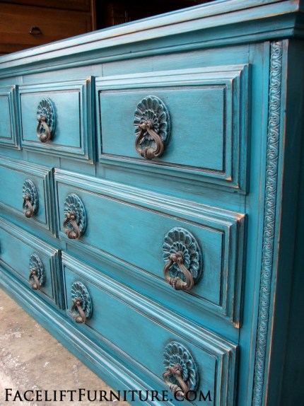Ornate Dresser in distressed Peacock Blue with Black Glaze