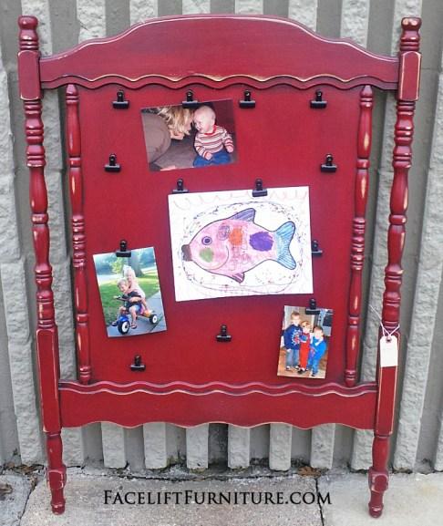 Crib Headboard Red Photo Display