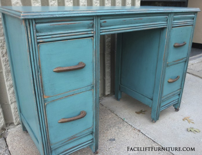 Sea Blue Antique Vanity Desk - Before & After. Facelift Furniture DIY Blog - Sea Blue Antique Vanity Desk – Before & After Facelift Furniture