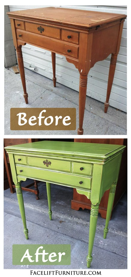 Lime Green Antique Sewing Table Before & After