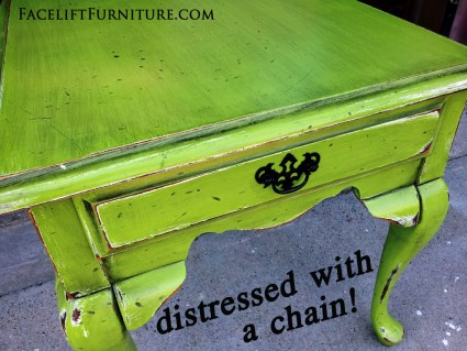 End Table Distressed with a Chain